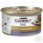 Корм GOURMET Gold Нежные биточки с ягненком и зелеными бобами для взрослых кошек 85г