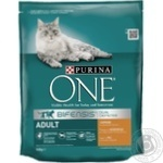 Корм сухой Purina ONE Adult С курицей и цельными злаками для взрослых котов 800г