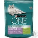 Purina One Sensitive with turkey and rice for cats dry food 800g