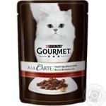 Корм GOURMET A la Carte С говядиной в подливке с морковью томатами и кабачками для взрослых кошек 85г