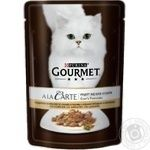 Gourmet A la Carte for cats in sauce with turkey, green pea, carrot food 85g