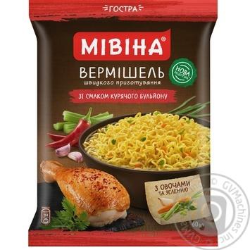 Вермишель Мивина со вкусом курицы острая 60г