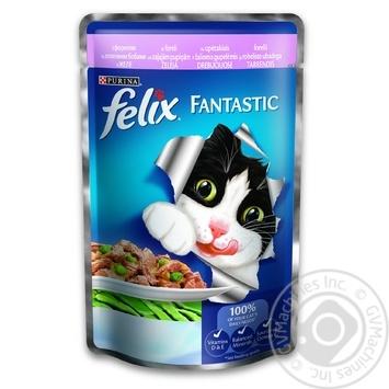 Корм Felix Fantastic С форелью и зелеными бобами в желе для взрослых котов 100г - купить, цены на Метро - фото 1