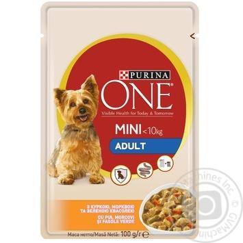 Корм Purina ONE MINI Adult С курицей, морковью и зеленой фасолью для собак мелких пород 100г - купить, цены на Novus - фото 1