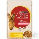 Корм Purina ONE MINI Здоровый Вес С индейкой, морковью и горохом для контроля веса собак мелких пород 100г - купить, цены на Novus - фото 1