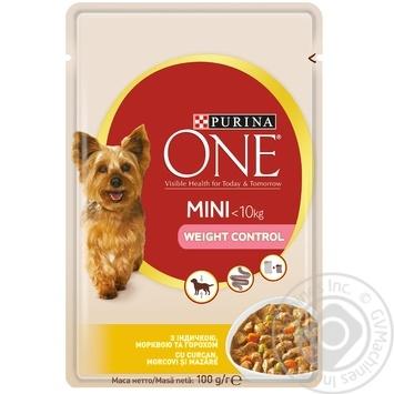 Корм Purina ONE MINI Здоровый Вес С индейкой, морковью и горохом для контроля веса собак мелких пород 100г - купить, цены на Ашан - фото 1