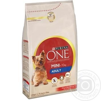 Корм сухой Purina ONE MINI Adult с говядиной и рисом для собак мелких пород 1,5кг