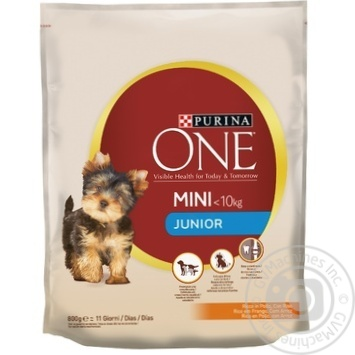 Purina One MINI Junior for puppys with chicken and rice dry food 800g