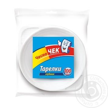 Тарілки одноразові глибокі ЧесноЧек 100шт 500 мл - купить, цены на Novus - фото 1