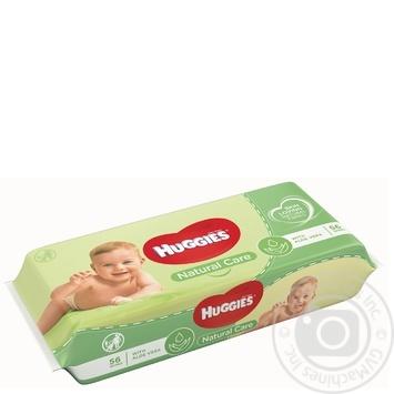 Салфетки влажные Huggies Natural Care 56шт/уп - купить, цены на МегаМаркет - фото 1
