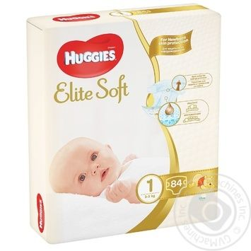 Підгузки Huggies Elite Soft Mega 1 2-5кг 84шт - купити, ціни на Novus - фото 1