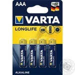 Батарейка VARTA Longlife Alkaline AAA BLI 4шт