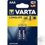 Батарейка VARTA Longlife Alkaline AАA BLI 2шт