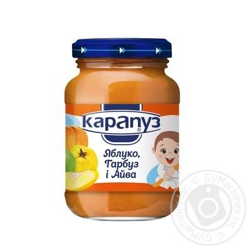 Пюре Карапуз из яблок тыквы и айвы детское с 4 месяцев стеклянная банка 200г Украина