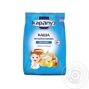 Каша Карапуз Мультизлаковая молочная с яблоком и персиком c 6 месяцев 250г - купить, цены на Ашан - фото 1
