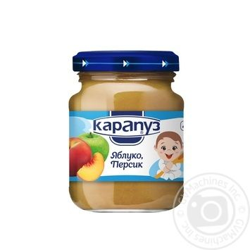 Puree Karapuz apple-peach for children from 4 months 125g glass jar - buy, prices for Furshet - image 1