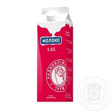 Молоко Радивилівмолоко пастеризоване 1.6% 910г - купить, цены на Ашан - фото 1