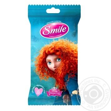 Серветки вологі Smile Принцеси 15шт