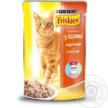 Корм Friskies З індичкою шматочки у підливці для дорослих котів 100г