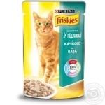 Корм Friskies С уткой кусочки в подливке для взрослых кошек 100г