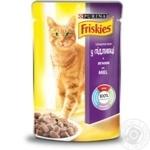 Корм Friskies С ягненком кусочки в подливке для взрослых кошек 100г
