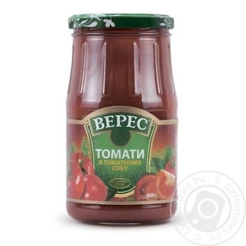 Томаты Верес в томатном соке консервированные 800г - купить, цены на Novus - фото 1