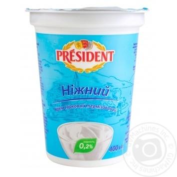 Крем творожный Президент Творог нежный 0,2% 400г - купить, цены на Novus - фото 1