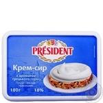 Крем-сыр President Творожный с ароматом грецкого ореха 18% 180г