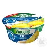 Крем творожный Лактония термізований наполнителем ананас нежирный 0.2% 140г