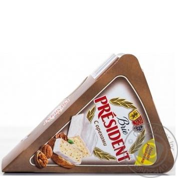 Сыр Президент Бри мягкий с орехами 60% 125г