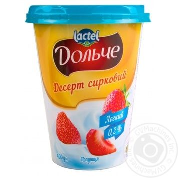 Cottage cheese dessert Dolce strawberry 0% 400g - buy, prices for MegaMarket - image 1