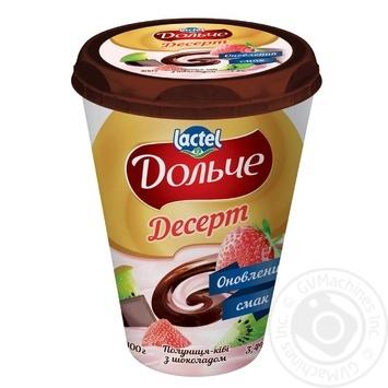 Десерт сирковий Дольче полуниця-ківі з шоколадом 3,4% 400г - купити, ціни на ЕКО Маркет - фото 1