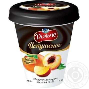 Йогурт десертный Дольче Искушение Манго-Персик 2,5% 300г