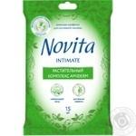 Салфетки Novita Soft Intimate влажные для интимной гигиены с растительным комплексом Amiderm 15шт