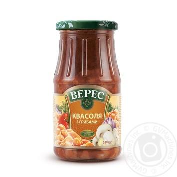 Vegetables kidney bean Veres mushroom in tomato sauce 530g glass jar