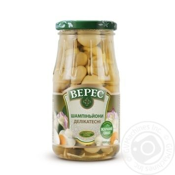 Mushrooms cup mushrooms Veres Delicatessen canned 460g glass bottle