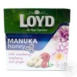 Чай фруктово-трав'яний з журавлиною, малиною, імбиром та з ароматом меду Манука  у пакетиках для разового заварювання Loyd 20*1,7г