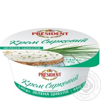 Крем President Зелена цибуля сирковий термізований 4% 140г