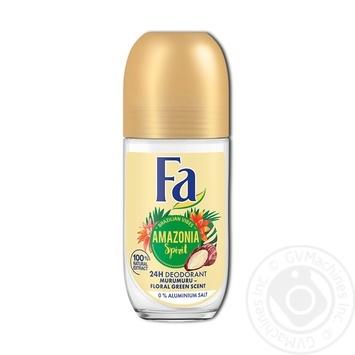 Дезодорант-ролик Fa ритмы Бразилии Amazonia Spirit аромат цветочной зелени 0% солей алюминия 50мл