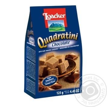 Вафли-кубики Loacker Quadratini Chocolate с шоколадной начинкой 125г - купить, цены на МегаМаркет - фото 1