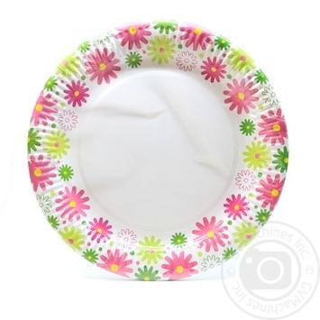 Тарелка Унипак Цветы бумажная 23см 6шт - купить, цены на Novus - фото 1