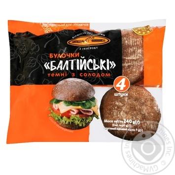 Булочки КиевХлеб Балтийские ржаные темные с солодом 240г - купить, цены на Novus - фото 1