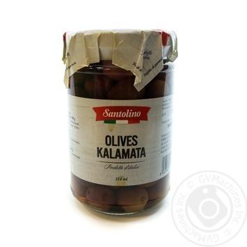 Маслини цілі з кісточкою Kalamata Santolino с/б 314мл