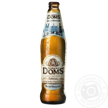 Пиво Львовское Robert Doms Бельгийский нефильтрованное  специальное пастеризованное 4,3% 0,5л - купить, цены на Novus - фото 1
