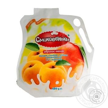 Йогурт Смаковеньки абрикос-манго 1,5% 480г - купить, цены на Ашан - фото 1