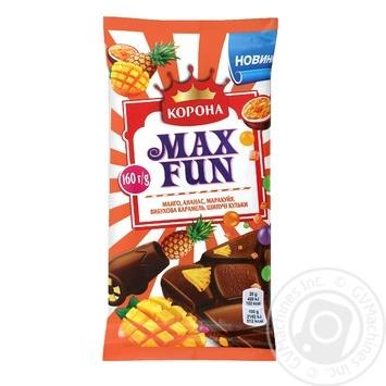 Шоколад Корона Max Fun манго ананас маракуйя взрывная карамель шипучие шарики 160г - купить, цены на Novus - фото 1