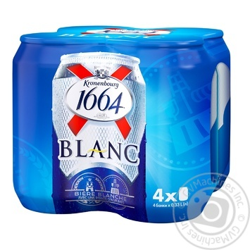 Пиво Kronenbourg 1664 Blanc светлое нефильтрованное 4шт 4,8% 0,33л - купить, цены на Ашан - фото 1