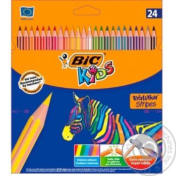 Олівці ВІС Еволюшен смужка  24шт - купити, ціни на Ашан - фото 1