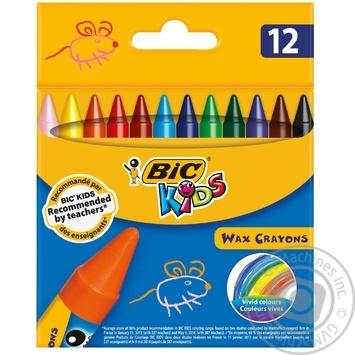 Мелки BIC восковые цветные 12 цветов - купить, цены на Ашан - фото 1