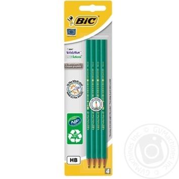 Олівець BIC Evolution НВ без гумки 4шт - купити, ціни на Метро - фото 1